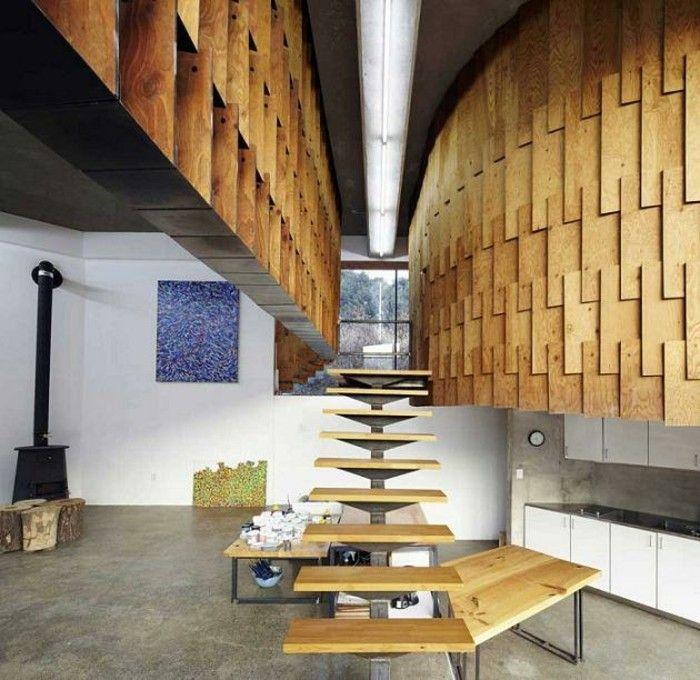 escaleras madera aluminio cristal casa pared preciosa ideas