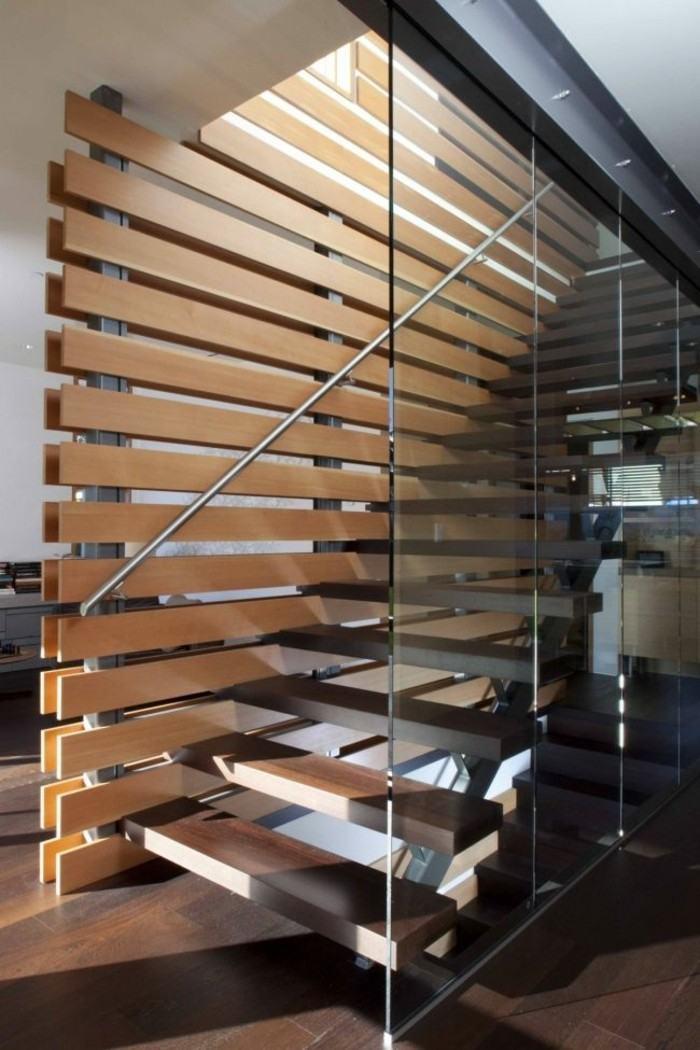 escaleras madera aluminio cristal casa pared separadora ideas