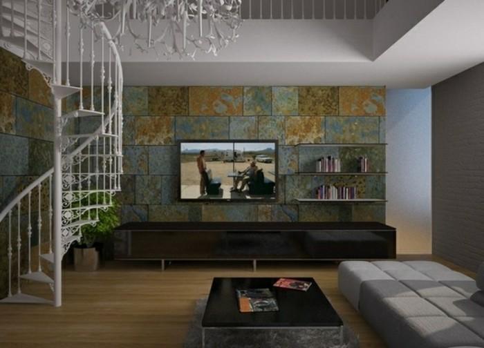 escaleras madera aluminio cristal casa pared televisor ideas