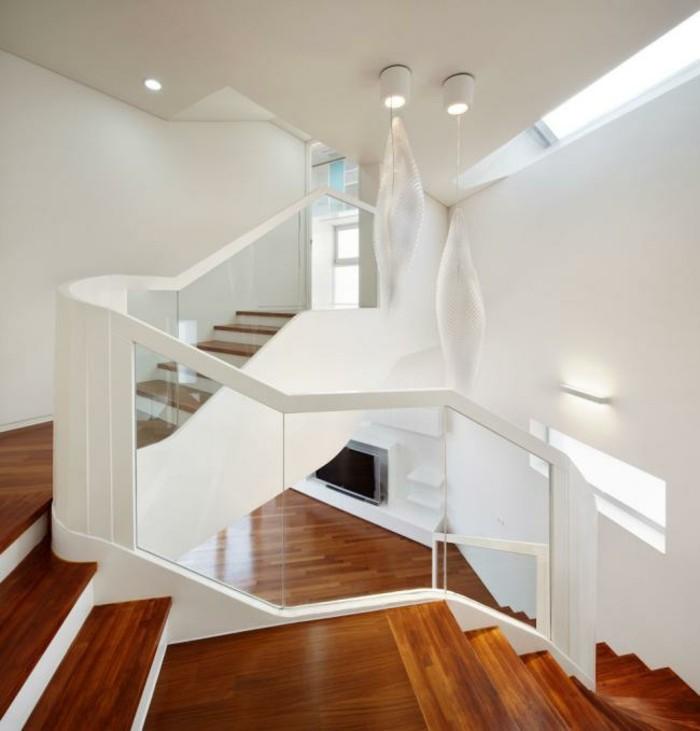escaleras madera aluminio cristal casa parquet ideas