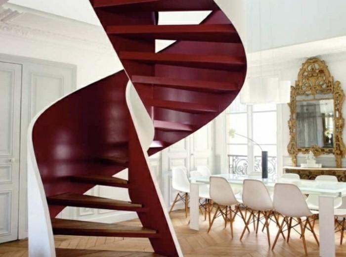 escaleras madera aluminio cristal casa roja preciosa ideas
