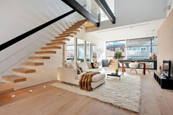 escaleras madera aluminio cristal casa salon moderno ideas
