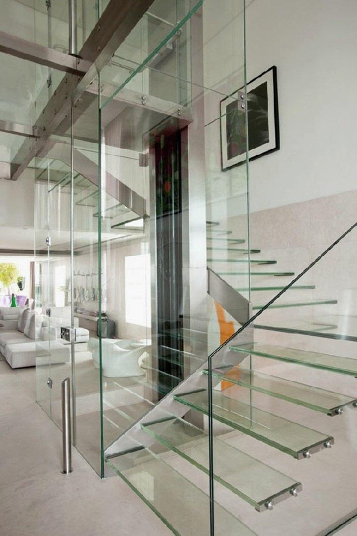 escaleras madera aluminio cristal casa salon ideas