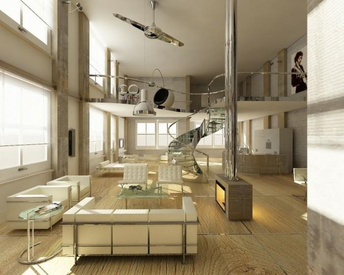 escaleras madera aluminio cristal casa sofa blanca ideas