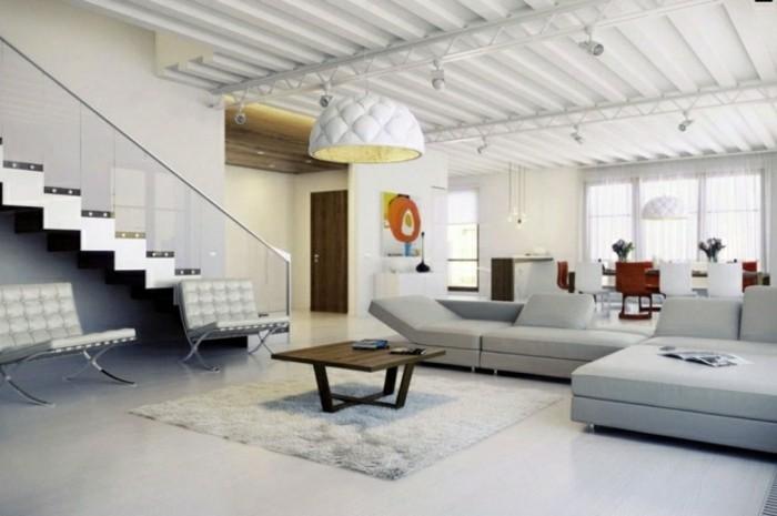 escaleras madera aluminio cristal casa sofa gris claro ideas