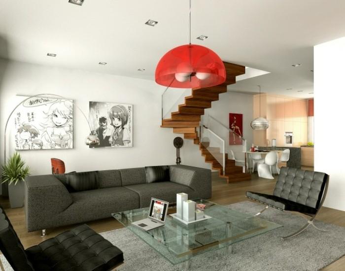 escaleras madera aluminio cristal casa sofa gris ideas