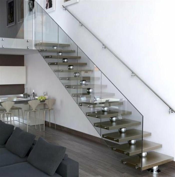 escaleras madera aluminio cristal casa sofa negra ideas