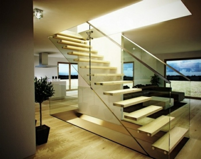 escaleras madera aluminio cristal casa suelo madera ideas