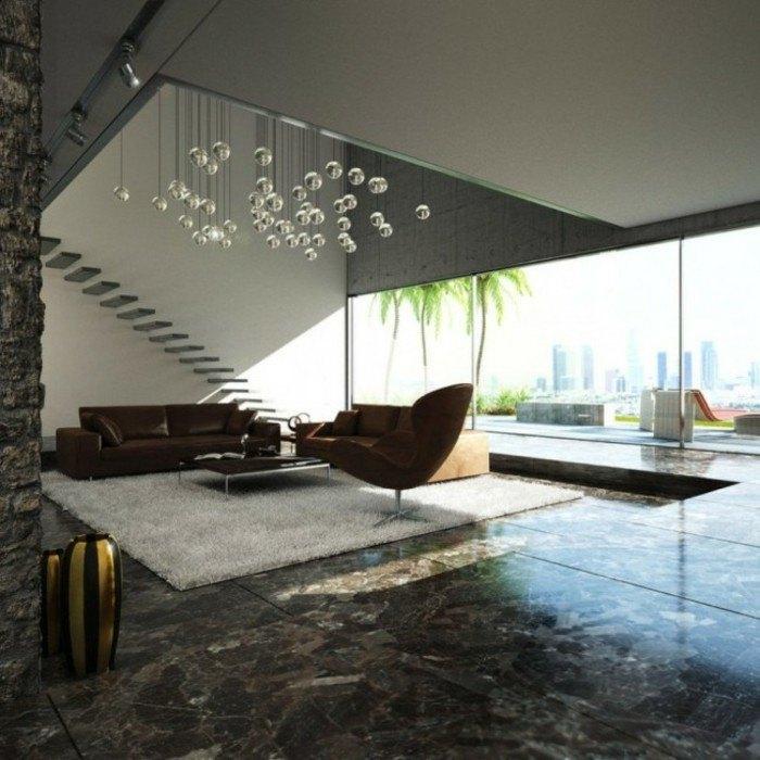 escaleras madera aluminio cristal casa suelo marmol ideas