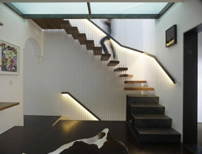escaleras madera aluminio cristal casa suelo negro ideas