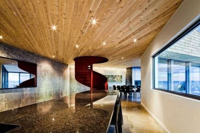 escaleras madera aluminio cristal casa techo madera ideas
