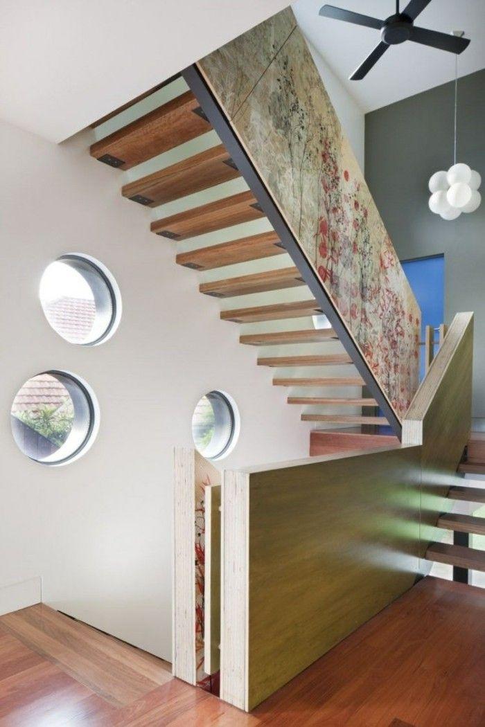 escaleras madera aluminio cristal casa ventilador ideas