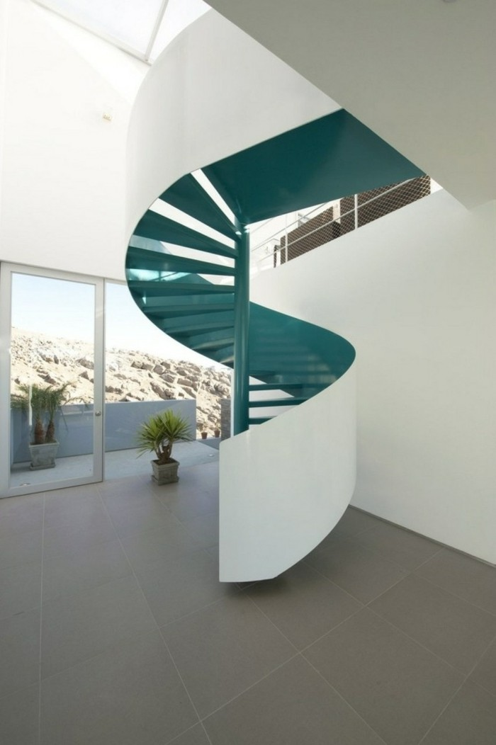 escaleras madera aluminio cristal casa verde preciosa ideas