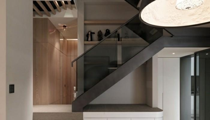escaleras madera aluminio cristal negro ideas