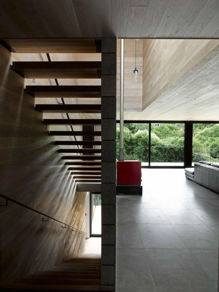 escaleras madera hormigon preciosos salon amplio ideas