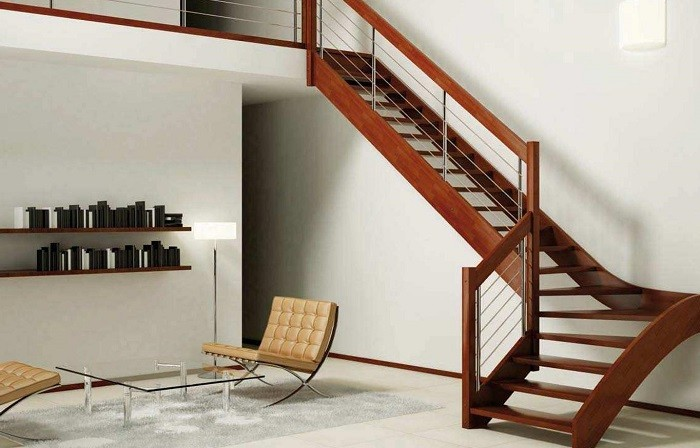 escaleras madera salon sillones precioso ideas