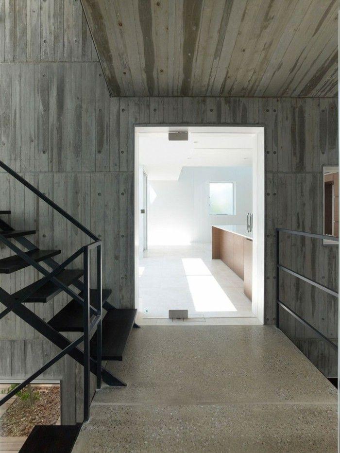 escaleras negras acero casa paredes hormigon ideas