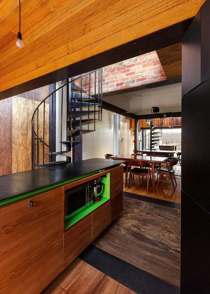 escaleras negras caracol cocina acero ideas