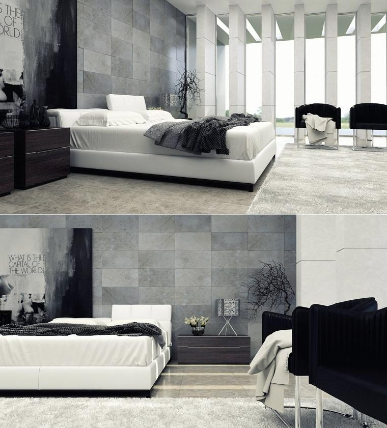 espacio dormitorios matrimonio amplios blanco negro ideas