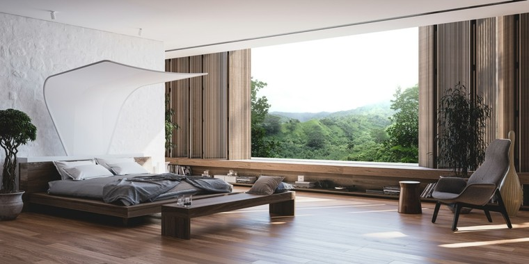 espacio dormitorios matrimonio amplios cama dosel precioso ideas