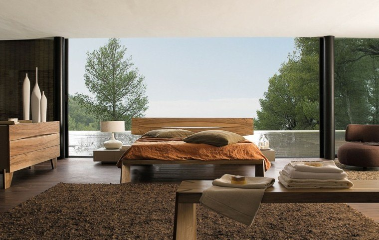espacio dormitorios matrimonio amplios cama madera clara ideas