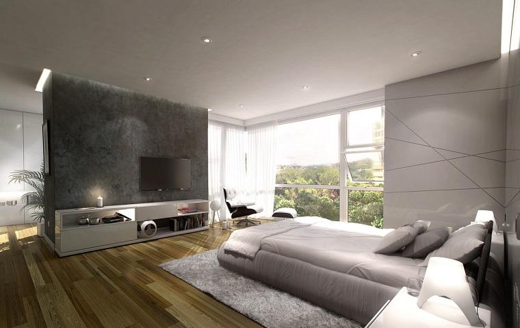 espacio dormitorios matrimonio amplios pared separadora ideas