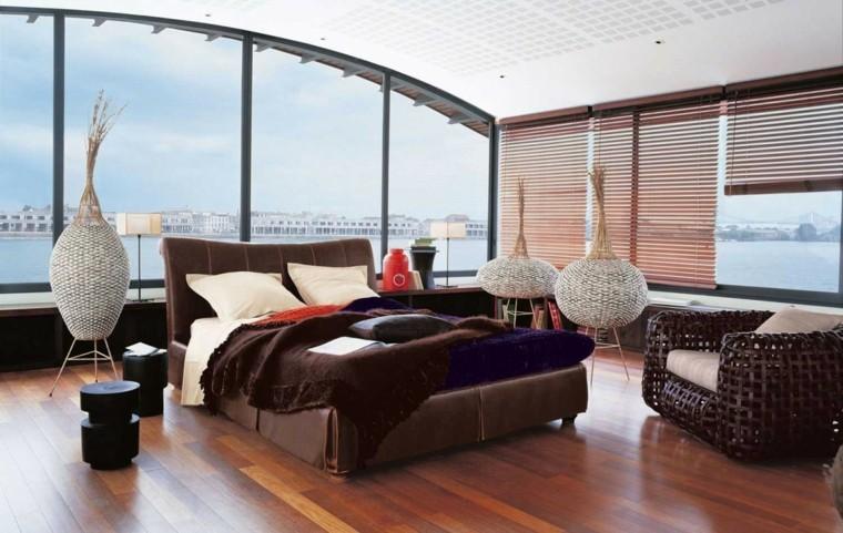 espacio dormitorios matrimonio amplios sillon mimbre ideas