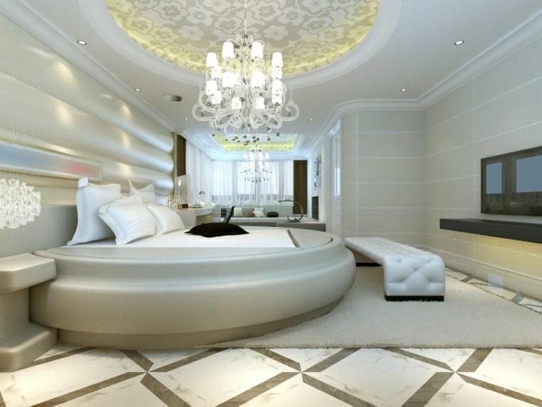 espacio dormitorios matrimonio amplios cama redonda ideas