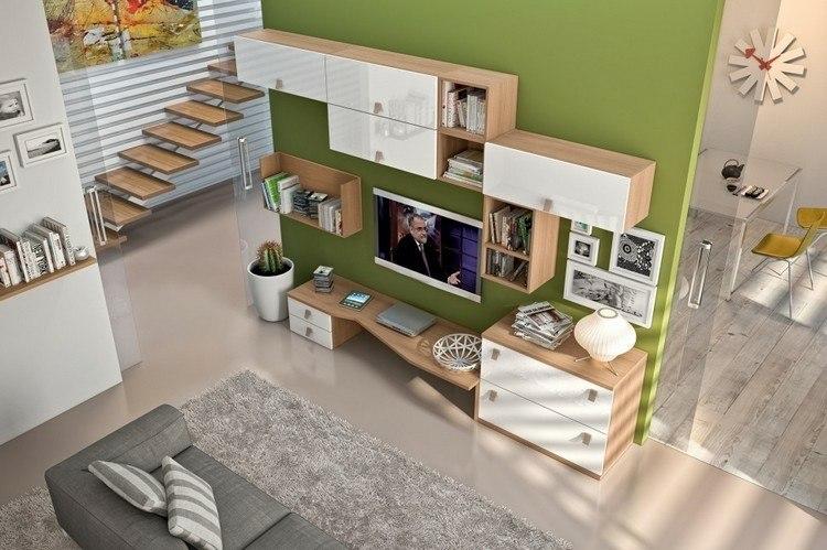 estanterias modulares pared verde
