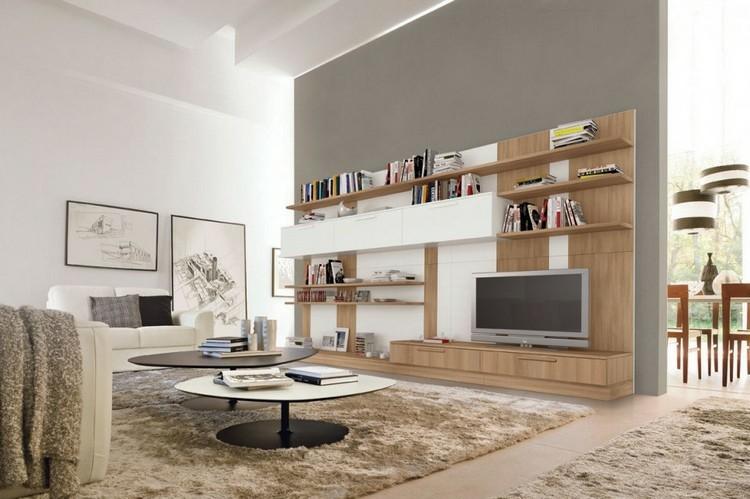 estanterias modulares salones modernos madera