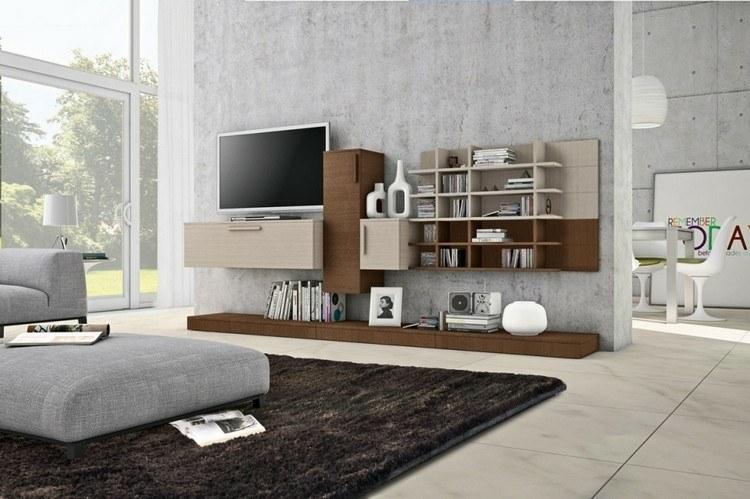 estantes salon color madera beige