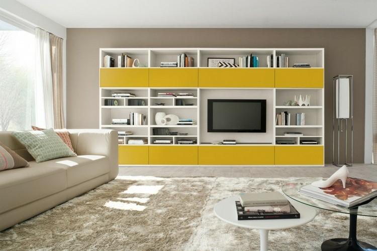 estantes salon color blanco amarillo