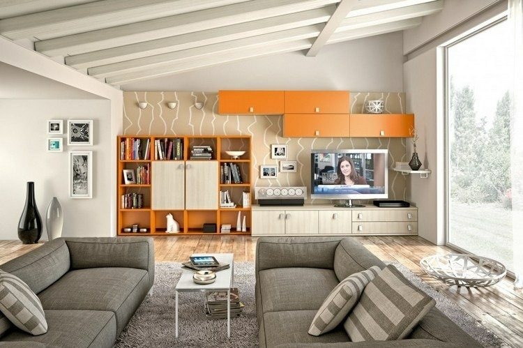 estantes salon color naranja beige
