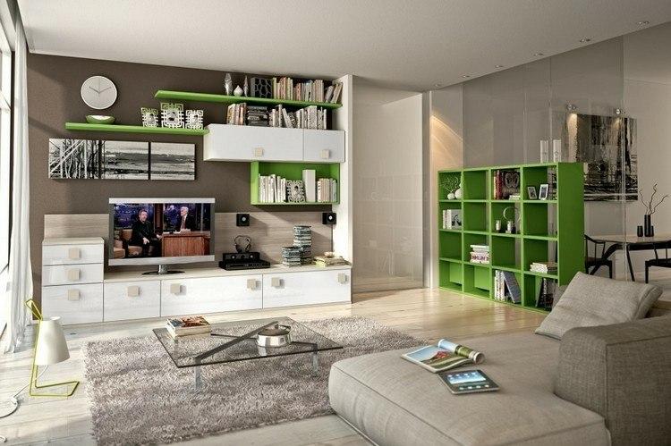 Estanterias modulares para salones modernos 38 ideas - Cement showcase designs living room ...