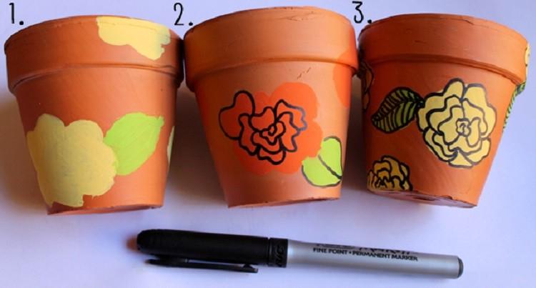 macetas decoracion diseño pinturas flores
