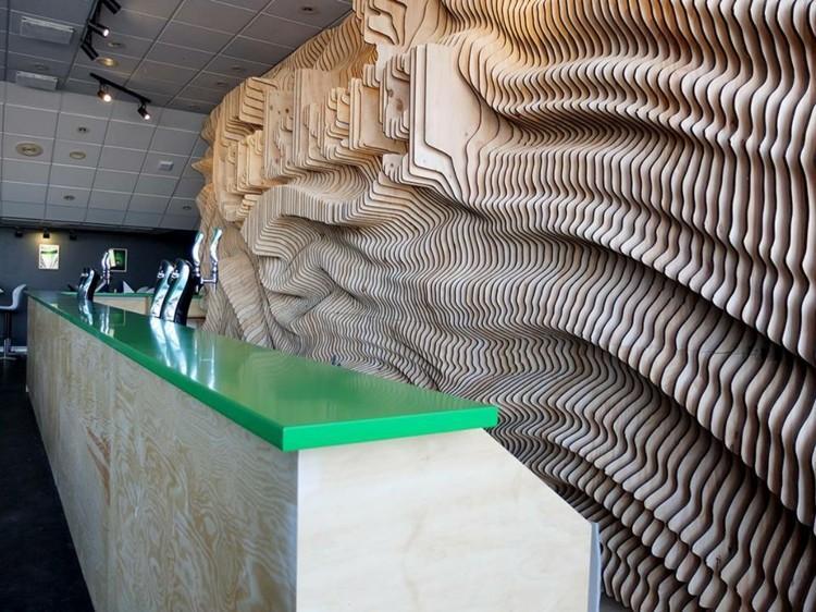 estilo salon detalles barra verde moderno