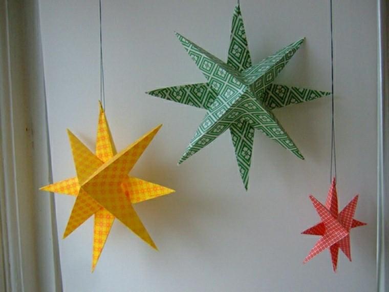 estrellas colgantes cartulinas colores ideas