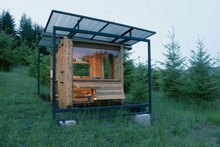 estupenda cabaña acero madera