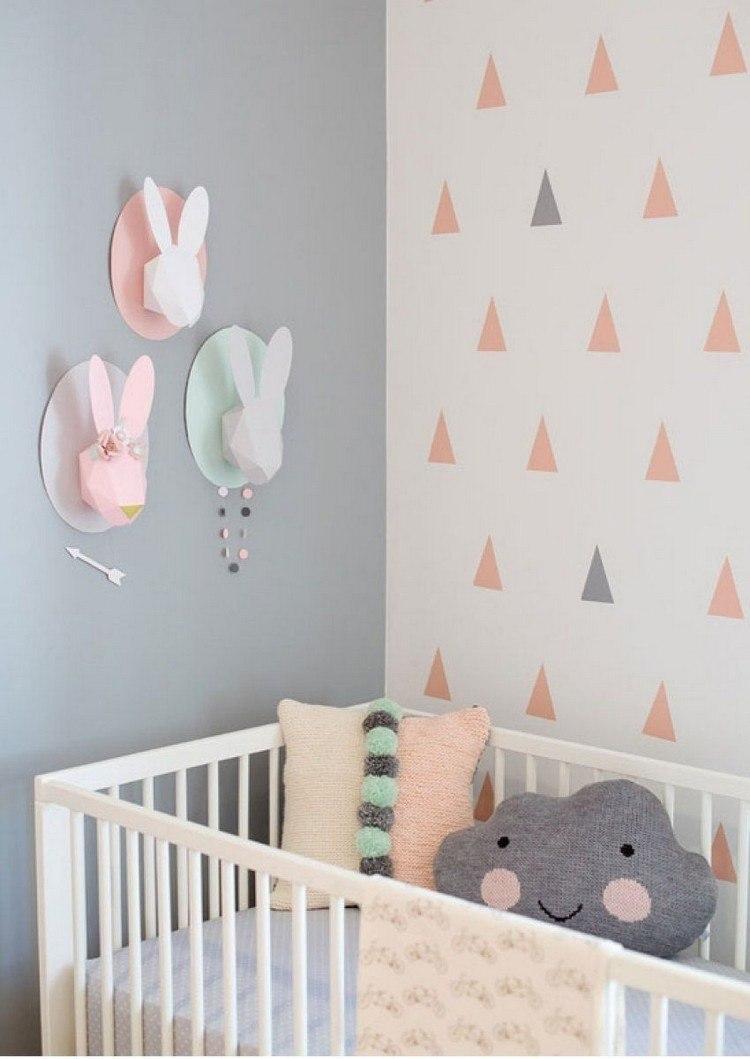 estupenda decoracin triangulos paredes estupenda deco pared habitacin bebe
