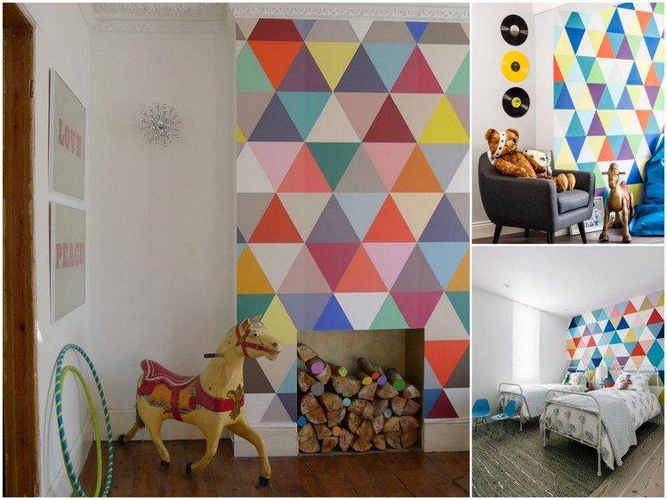 estupenda decoración pared triangulios