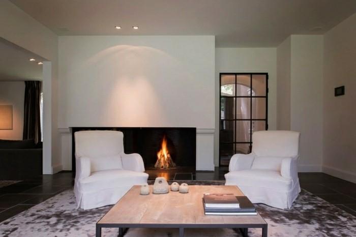 estupendo diseño salon chimenea