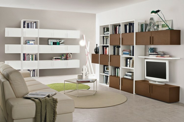 estantes salon madera blanca