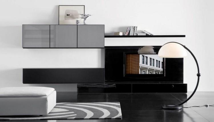 estante salon negro gris