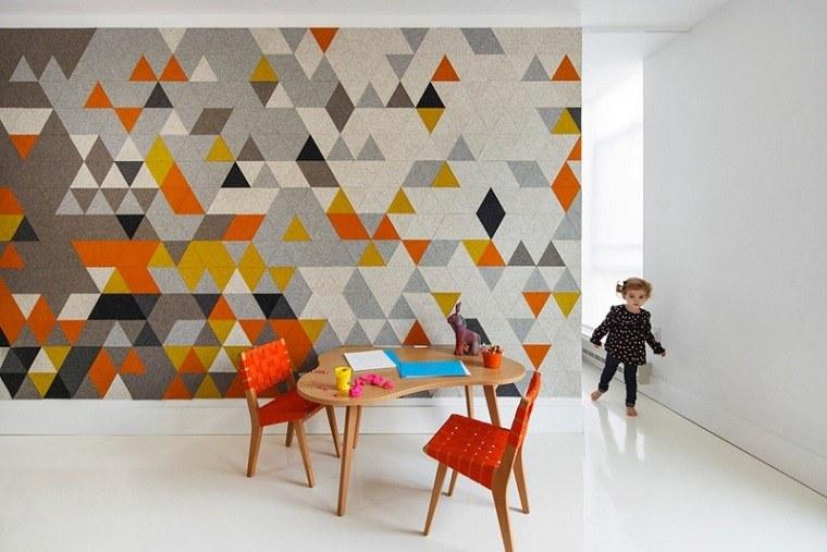 fieltro decoracion original paredes colores vibrantes ideas