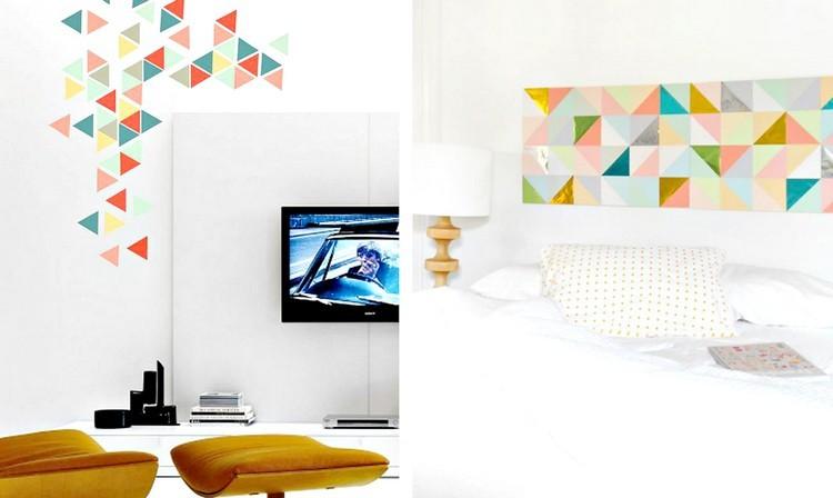 formas triángulos colores paredes