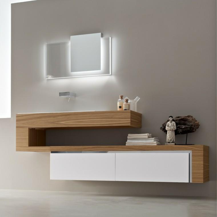 fotos de baños espejos estantes asiatico led