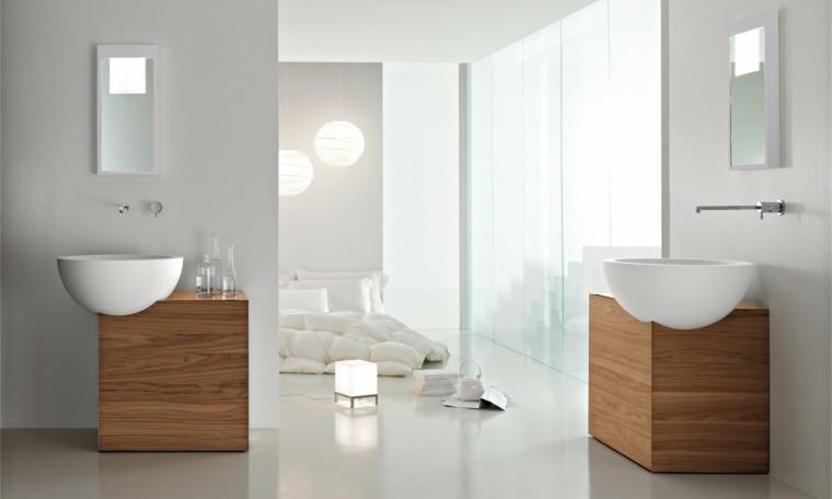 fotos de baños espejos estantes cortinas camas