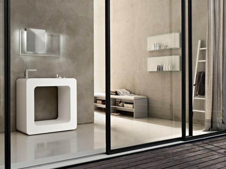 fotos de baños espejos estantes moderno toallas
