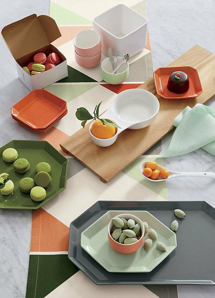 gama de colores naranja platos semillas