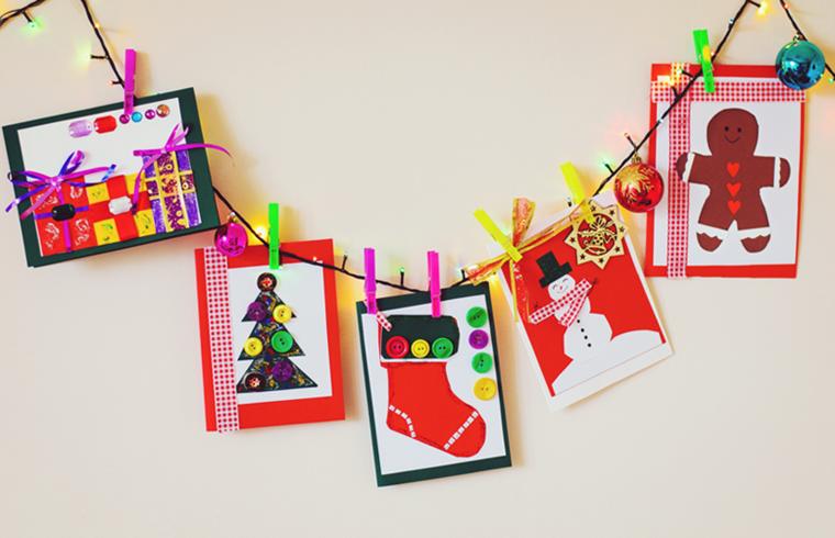guirnalda tarjetas navidad colores